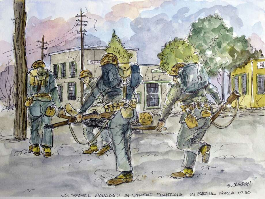 This watercolor by Marine Steve Jordan, from Ballston Spa depicting combat in Korea is part of a new exhibit at the New York State Military Museum. (NYS Military Museum)
