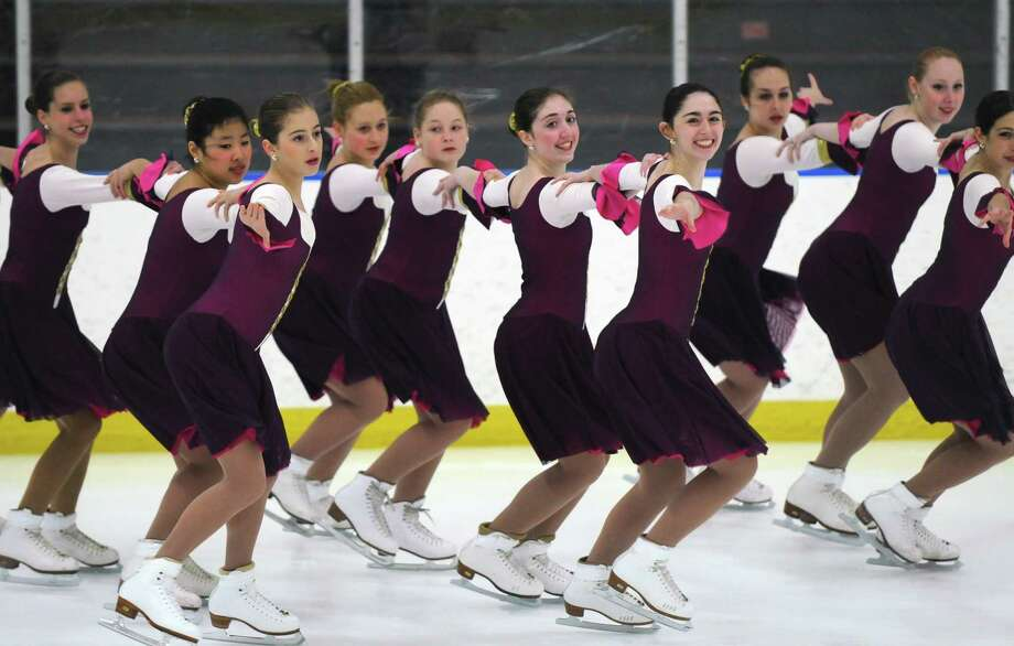 The Achilles Edge Intermediate Synchronized Skating Team perform during the 2012 Spring Ice Show, hosted by the Albany Figure Skating Club, at Albany Academy on Sunday March 4, 2012 in Albany, N.Y.  24 solo skaters performed, as well as groups including the Achilles Edge Synchronized Skating Teams.(Philip Kamrass / Times Union ) Photo: Philip Kamrass / 00016674A
