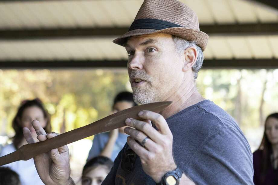Instructor Greg Wenderski holds up a Bronze Age style sword to show his class during a sword casting class Saturday, Dec. 1, 2018 at McDade Park in Conroe. Photo: Cody Bahn, Houston Chronicle / Staff Photographer / © 2018 Houston Chronicle