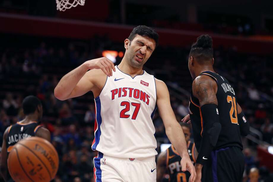 Detroit Pistons center Zaza Pachulia reacts after a foul during the first half of an NBA basketball game against the Phoenix Suns, Sunday, Nov. 25, 2018, in Detroit. (AP Photo/Carlos Osorio) Photo: Carlos Osorio / Associated Press
