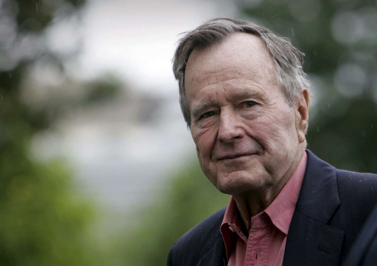 FILE - In this May 11, 2008 file photo, former President George H.W. Bush arrives on the South Lawn of White House in Washington. Bush died at the age of 94 on Friday, Nov. 30, 2018, about eight months after the death of his wife, Barbara Bush. (AP Photo/Lawrence Jackson, File)