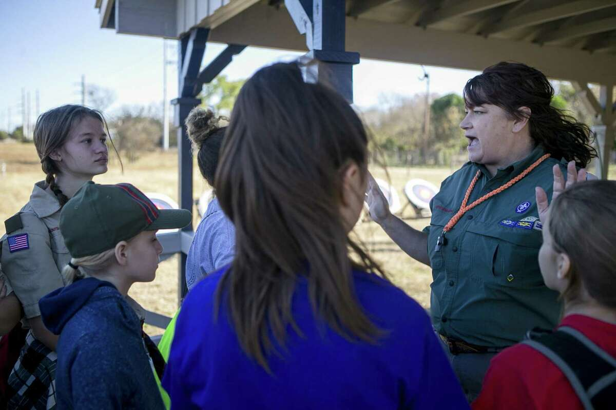 Rangemaster Shannon Duncan instructs members of at McGimsey Scout Park during a training weekend for Scouts BSA, a new Scouts BSA program, which will launch in February 2019 featuring troops with all girls, on Dec. 1, 2018.