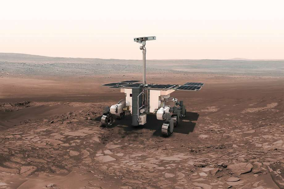 A rendering shows the European-Russian ExoMars, which will try to detect possible past life by drilling for chemical fossils. Photo: European Space Agency