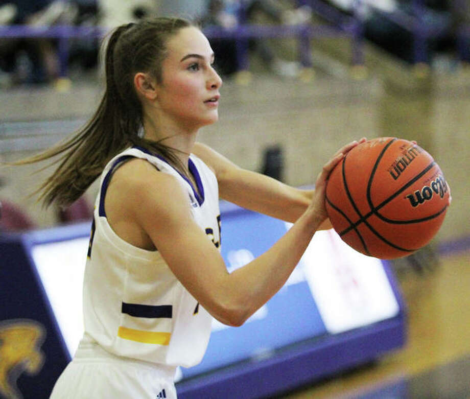 CM's Hannah Sontag, shown in action earlier this season, scored a team-high 16 points in the Eagles' victory over Belleville East on Saturday afternoon at the O'Fallon Shootout. Photo: Greg Shashack / The Telegraph