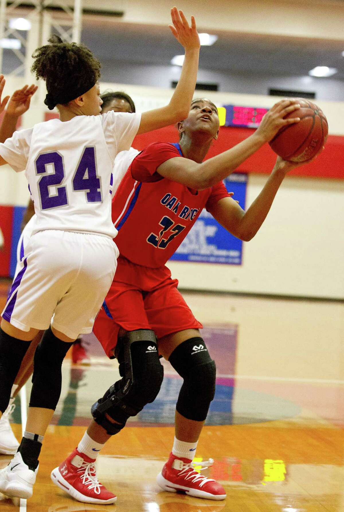 Oak Ridge forward Chelsea Cogborn, shown here last month, had a double-double of 16 points and 11 rebounds against Manor on Saturday.