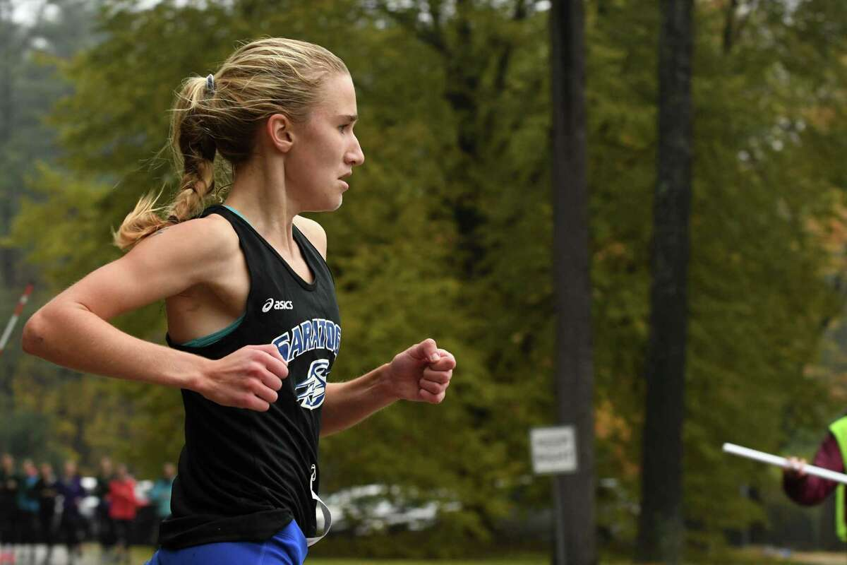 Kelsey Chmiel of Saratoga Springs wins the girl's cross country class A race during the Section II Cross Country Championships on Friday, Nov. 2, 2018, in Saratoga Springs, N.Y. (Will Waldron/Times Union)