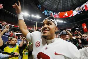 ATLANTA, GA - DECEMBER 01:  Jalen Hurts #2 of the Alabama Crimson Tide reacts after defeating the Georgia Bulldogs 35-28 in the 2018 SEC Championship Game at Mercedes-Benz Stadium on December 1, 2018 in Atlanta, Georgia.  (Photo by Kevin C. Cox/Getty Images)