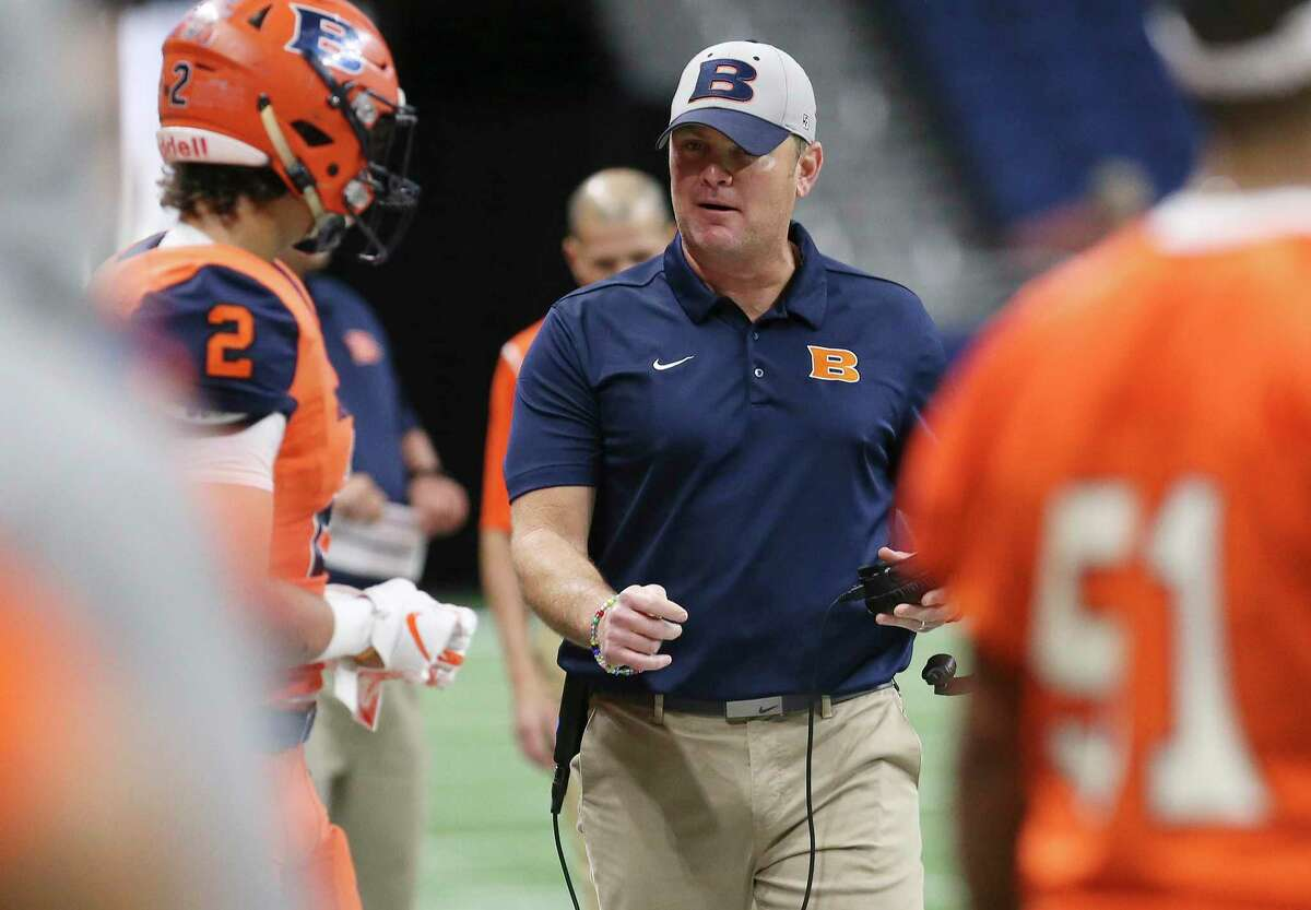 Brandeis' head coach David Branscom (center) walks the sidelines during the game against Brownsville Hanna in the Class 6A, Div. II football playoff game at the Alamodome on Saturday, Dec. 1, 2018. (Kin Man Hui/San Antonio Express-News)