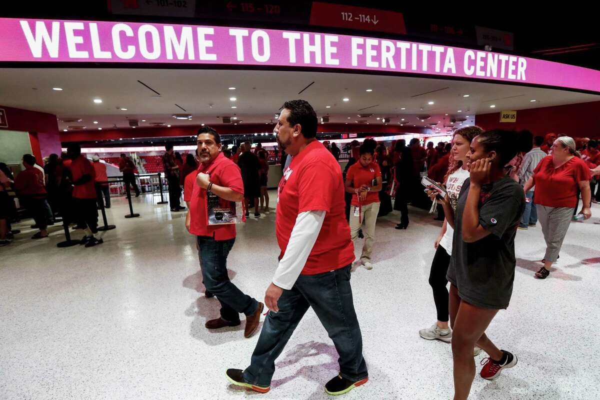 Basketball fans get their first chance to check out the 7,100-seat Fertitta Center, which was open for action Saturday night following a $60 million renovation of the former Hofheinz Pavilion.