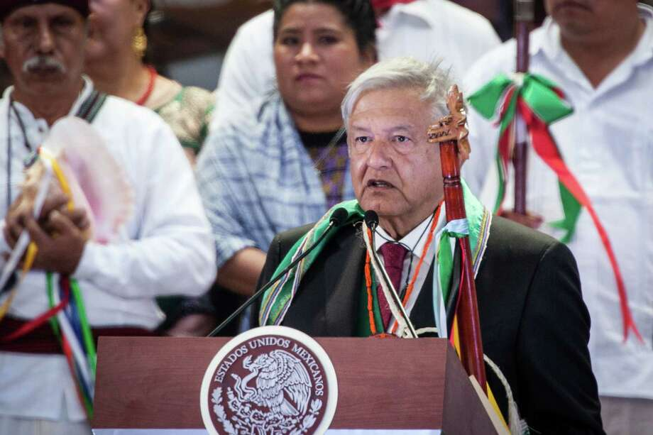MEXICO CITY, MEXICO - DECEMBER 01: Andres Manuel Lopez Obrador gives a speech during the events of the Presidential Investiture as part of the 65th Mexico Presidential Inauguration at Zocalo on December 1, 2018 in Mexico City, Mexico. (Photo by Pedro Mera/Getty Images) Photo: Pedro Mera / 2018 Getty Images