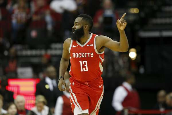 HOUSTON, TX - DECEMBER 01: James Harden #13 of the Houston Rockets celebrates after a three point shot in the first half against the Chicago Bulls at Toyota Center on December 1, 2018 in Houston, Texas. NOTE TO USER: User expressly acknowledges and agrees that, by downloading and or using this photograph, User is consenting to the terms and conditions of the Getty Images License Agreement. (Photo by Tim Warner/Getty Images)