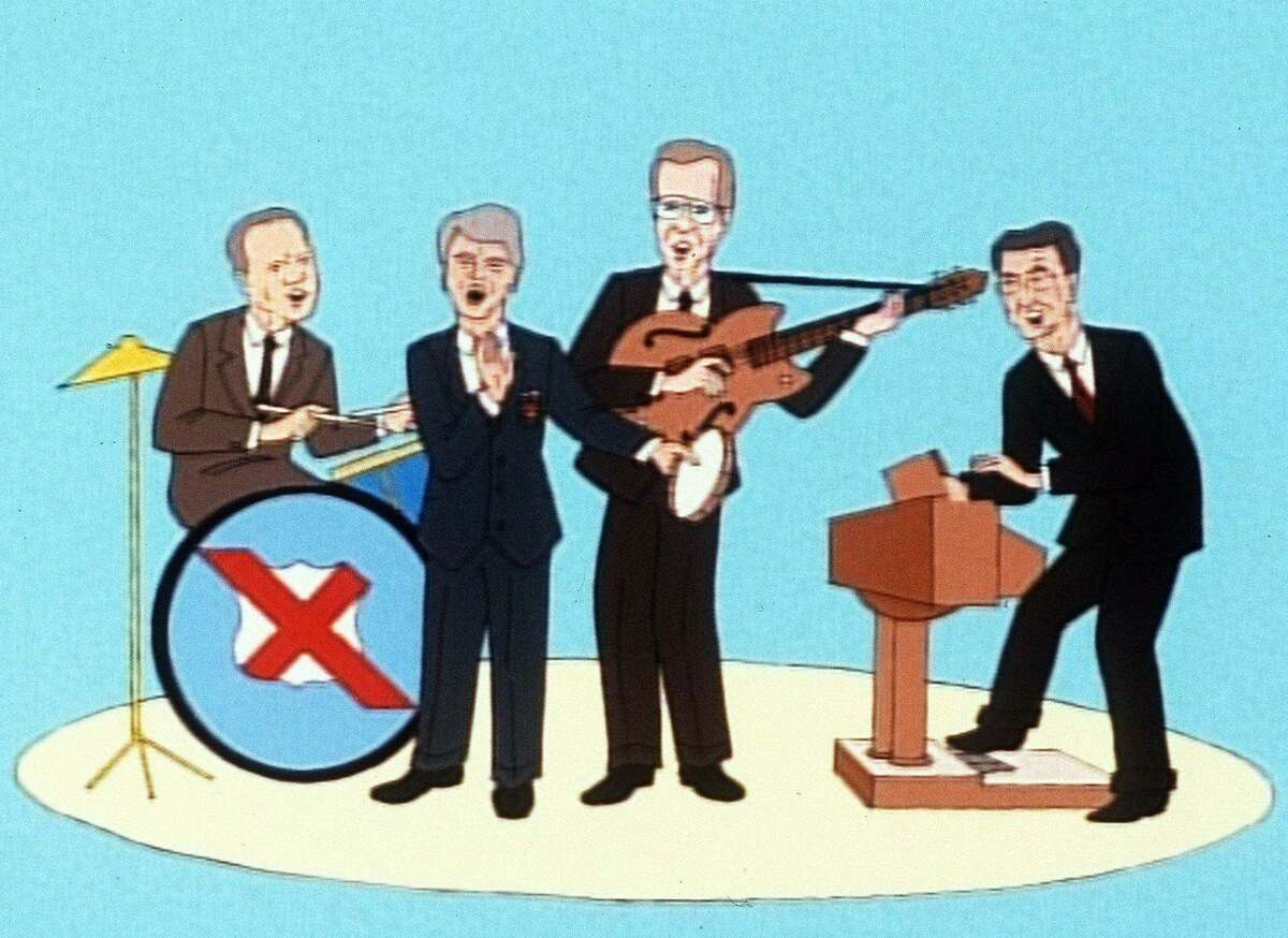 ADVANCE FOR TUESDAY PMS, SEPT. 22--This is a frame from 'X-Presidents,' an animated cartoon series shown on NBC's 'Saturday Night Live.' Robert Smigel, the feature's creator, also writes the script for 'The Ambiguously Gay Duo,' another humerous cartoon that appears regularly on 'SNL.' The former presidents represented, from left, are: Gerald Ford, Jimmy Carter, George Bush and Ronald Reagan.(AP Photo/SNL)