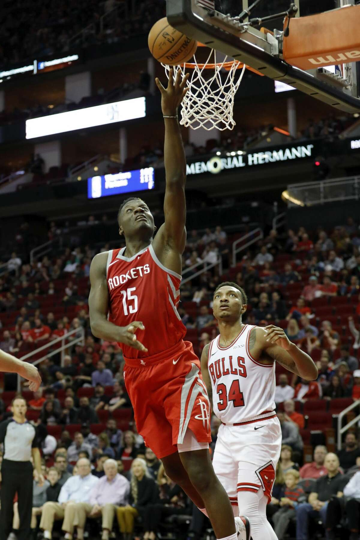 HOUSTON, TX - DECEMBER 01: Clint Capela #15 of the Houston Rockets goes up for a shot defended by Wendell Carter Jr. #34 of the Chicago Bulls in the second half at Toyota Center on December 1, 2018 in Houston, Texas. NOTE TO USER: User expressly acknowledges and agrees that, by downloading and or using this photograph, User is consenting to the terms and conditions of the Getty Images License Agreement. (Photo by Tim Warner/Getty Images)