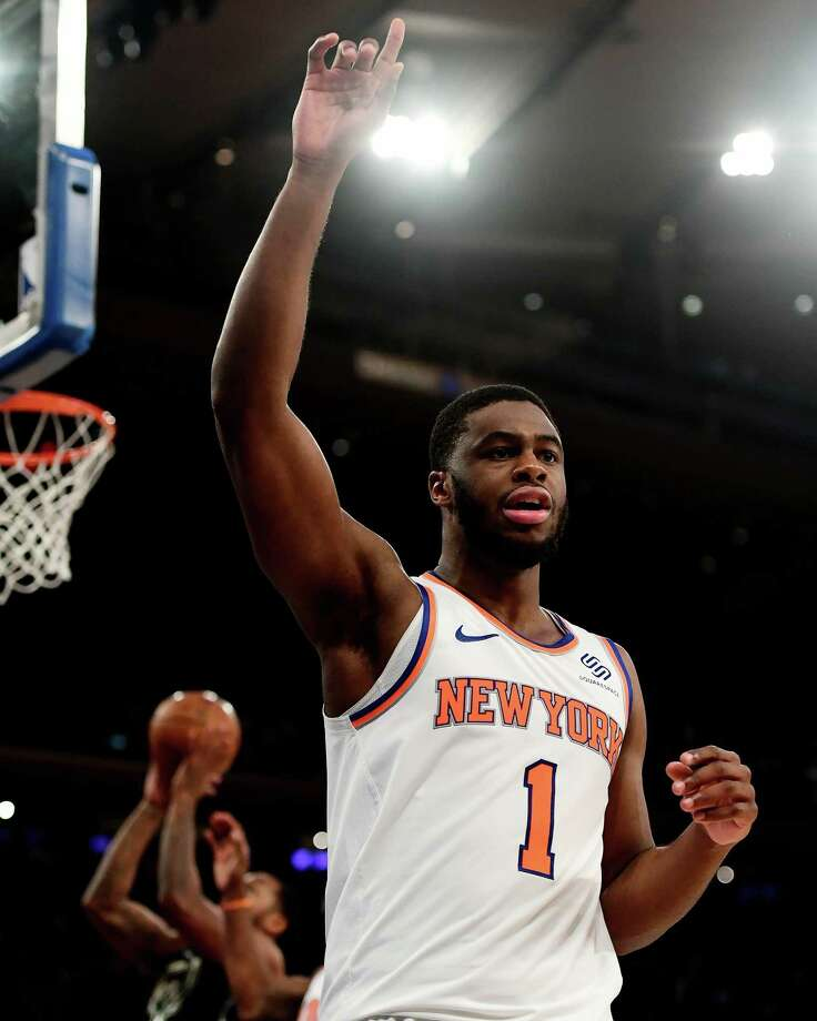 NEW YORK, NEW YORK - DECEMBER 01: Emmanuel Mudiay #1 of the New York Knicks reacts after a foul is called on Milwaukee Bucks during the fourth quarter of the game at Madison Square Garden on December 01, 2018 in New York City. NOTE TO USER: User expressly acknowledges and agrees that, by downloading and or using this photograph, User is consenting to the terms and conditions of the Getty Images License Agreement. (Photo by Sarah Stier/Getty Images) Photo: Sarah Stier / 2018 Getty Images