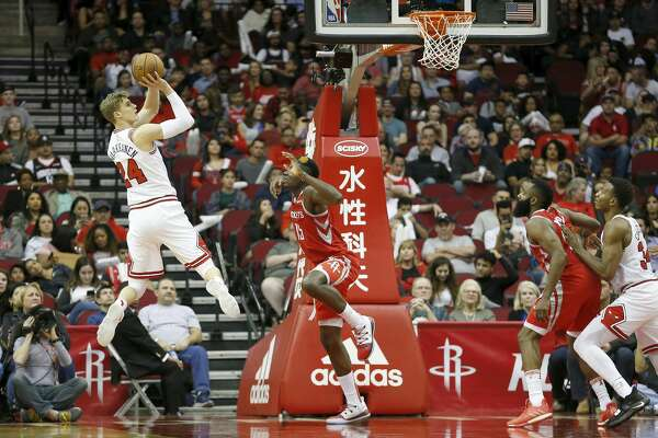 01 Lauri Markkanen 24 Of The Chicago Bulls Takes A Jump Shot Defended By Clint Capela 15 Houston Rockets In Second Half At Toyota Center