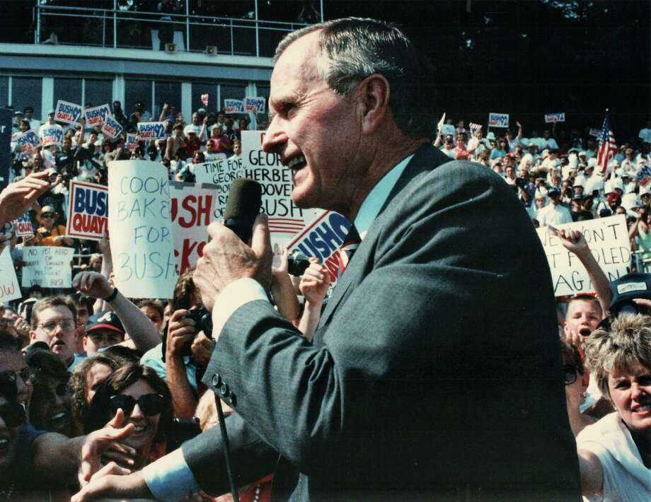 President George Bush greets Connecticut residents at Nolan Field in Ansonia on Aug. 24, 1992. Photo: Kirby Kennedy / New Haven Register Hearst Connecticut Media File Photo