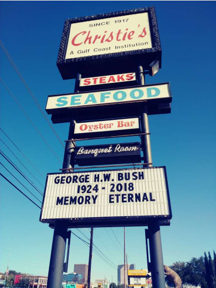 PHOTOS: Christie's says goodbye to Bush 41, a beloved regularGeorge and Barbara Bush were regular customers at Christie's Seafood. After Bush passed away on Friday -- seven months after his wife -- the restaurant issued a heartfelt goodbye.>>> Click through to see more memorial of Bush at the restaurant Photo: Courtesy Of Maria Christie