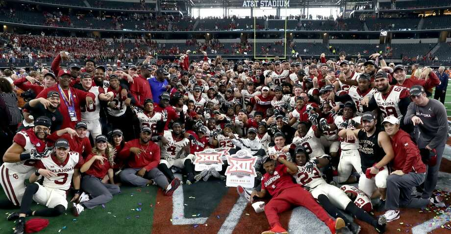 ARLINGTON, TEXAS - DECEMBER 01:  The Oklahoma Sooners celebrate a 39-27 Big 12 Championship win against the Texas Longhorns at AT&T Stadium on December 01, 2018 in Arlington, Texas. (Photo by Ronald Martinez/Getty Images) Photo: Ronald Martinez/Getty Images