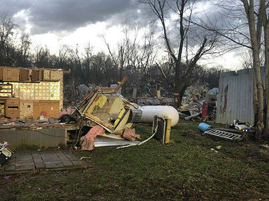 Several structures in the Griggsville/Valley City area of Pike County were damaged or destroyed, according to the Pike County Sheriff's Department. The damage was still being assessed Sunday. Photo: Pike County Sheriff's Department
