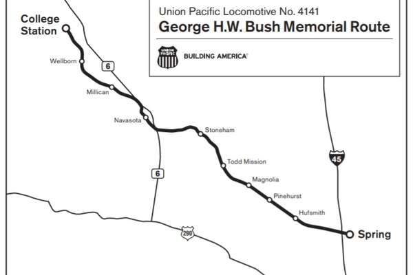 Bush funeral train: Where to watch - HoustonChronicle.com on kansas city southern railroad map, current united states railroad map, amtrak map, chicago, burlington and quincy railroad map, burlington northern railroad map, norfolk southern railroad map, indiana harbor belt railroad map, illinois railway museum map, santa fe railroad map, new york central railroad map, railroad tracks in colorado map, chicago & northwestern railroad map, rock island railroad map, b&o railroad map, louisiana & arkansas railroad map, galena and chicago union railroad map, ohio railroad map, wabash railroad map, great northern railroad map, soo line railroad map,