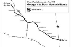 A train is scheduled to carry the body of George H.W. Bush from Spring to College Station, where he will be buried, on Thursday, Dec. 6.