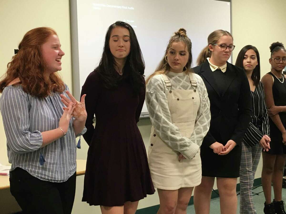 Greenwich High sophomores in Innovation Lab field questions from parents and community members after screening a documentary they made that explores the need for teen spaces in Greenwich.