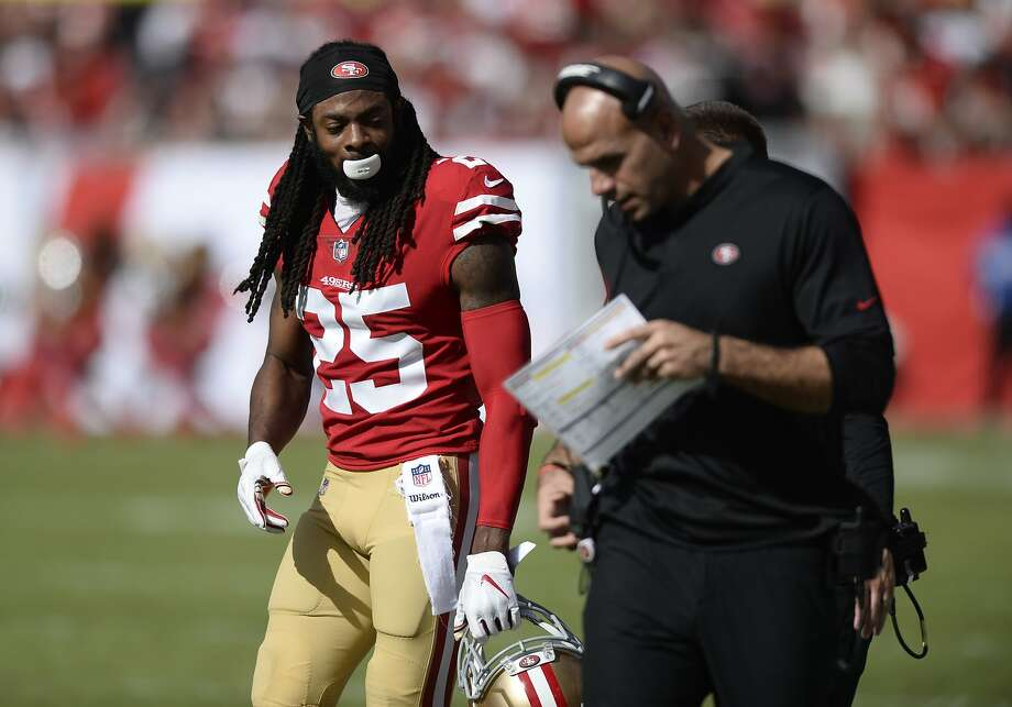 San Francisco 49ers cornerback Richard Sherman (25) talks to coaches during the first half of an NFL football game against the Tampa Bay Buccaneers Sunday, Nov. 25, 2018, in Tampa, Fla. (AP Photo/Jason Behnken) Photo: Jason Behnken / Associated Press