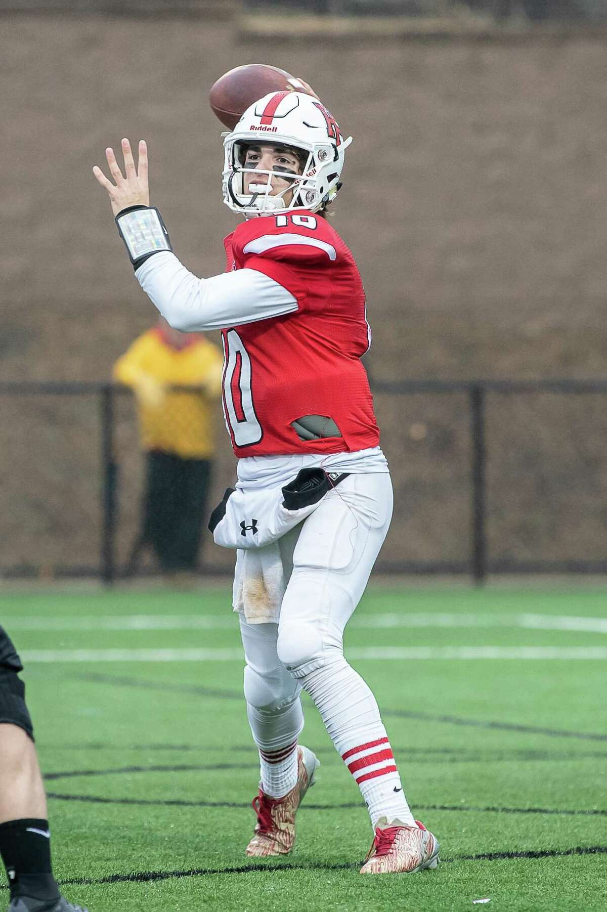 John Iaropoli (10) of Fairfield Prep delivers a pass during a football game between New Canaan and Fairfield Prep on December 2, 2018 at Fairfield University in Fairfield, CT.