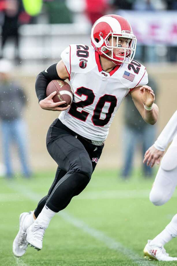 Quintin O'Connell (20) of New Canaan runs with the ball after a reception during a football game between New Canaan and Fairfield Prep on December 2, 2018 at Fairfield University in Fairfield, CT. Photo: John McCreary / For Hearst Connecticut Media / Connecticut Post Freelance