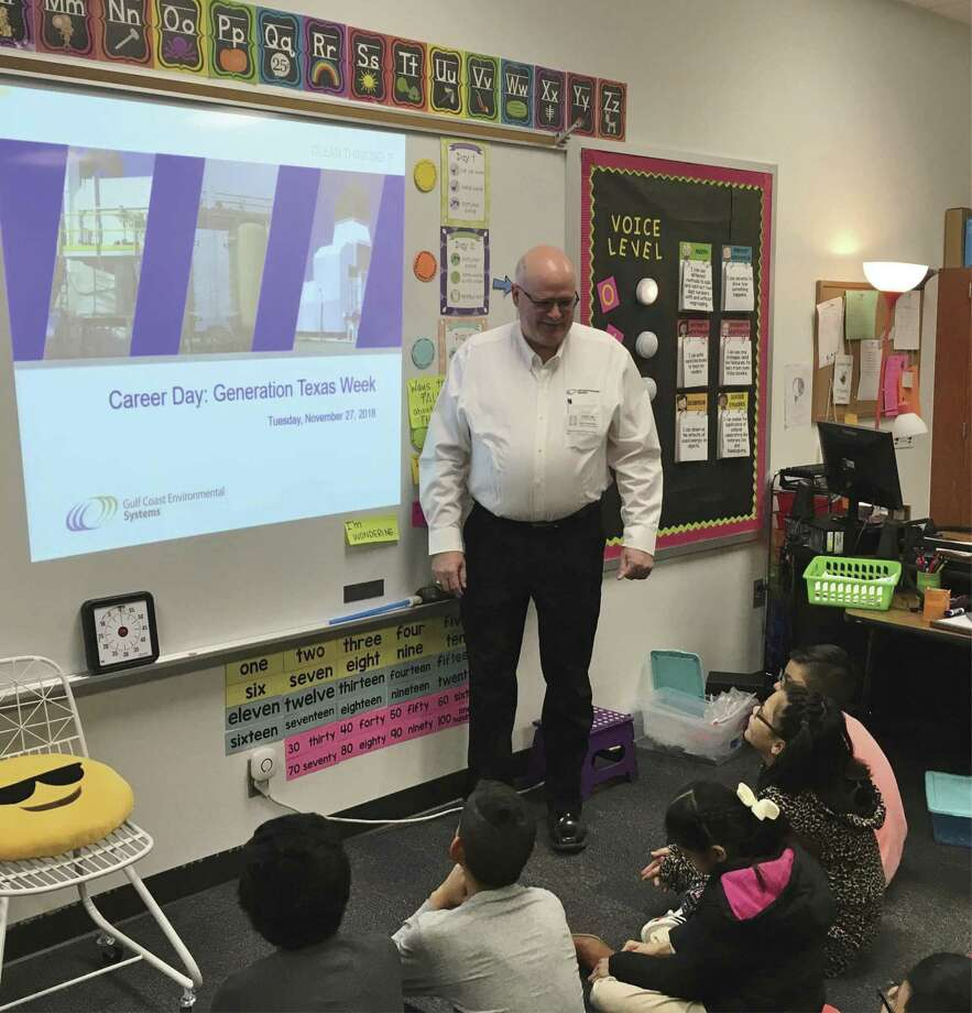 Last week Conroe Noon Lions Club member Jay Swoboda gives a talk to a fourth grade class at the club's adopted school of Reaves Elementary during Career Day.