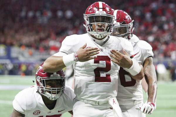 Jalen Hurts (2) could be starting at quarterback for No. 1 Alabama when the Crimson Tide meet Oklahoma in the national semifinals.