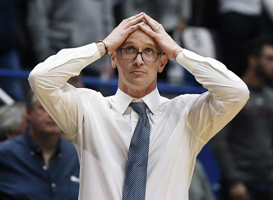 Connecticut head coach Dan Hurley reacts during the second half on Sunday. Photo: Jessica Hill / Associated Press / Copyright 2018 The Associated Press. All rights reserved