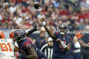 Houston Texans quarterback Deshaun Watson (4) passes the ball against the Cleveland Browns during the second quarter of an NFL football game at NRG Stadium on Sunday, Dec. 2, 2018, in Houston.
