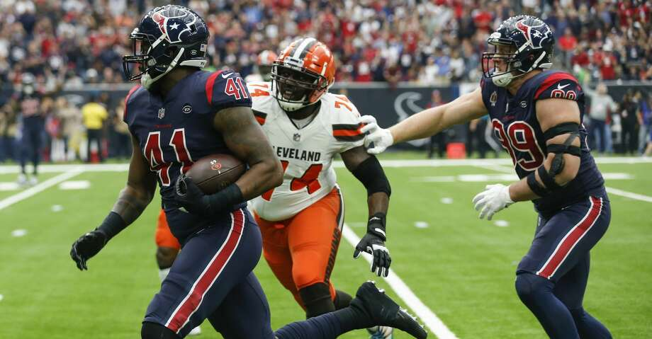 PHOTOS: Texans vs. Browns Houston Texans inside linebacker Zach Cunningham (41) runs past Cleveland Browns offensive tackle Chris Hubbard (74) for a 37-yard interception return for a touchdown during the second quarter of an NFL football game at NRG Stadium on Sunday, Dec. 2, 2018, in Houston. Browse through the photos to see action from the Texans' win over the Browns on Sunday. Photo: Brett Coomer/Staff Photographer