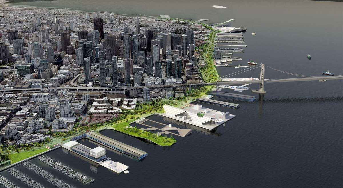 Hassell, an Australian design firm that has worked extensively on the Sydney waterfront, has proposed that the Port of San Francisco look at the Embarcadero holistically to upgrade the piers and prepare for sea level rise while submitting this photo illustration.