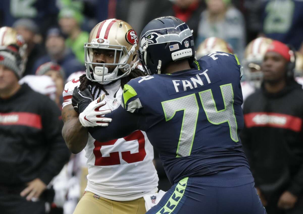 San Francisco 49ers cornerback Richard Sherman (25) lines up against Seattle Seahawks offensive tackle George Fant (74) during the first half of an NFL football game, Sunday, Dec. 2, 2018, in Seattle. (AP Photo/Elaine Thompson)