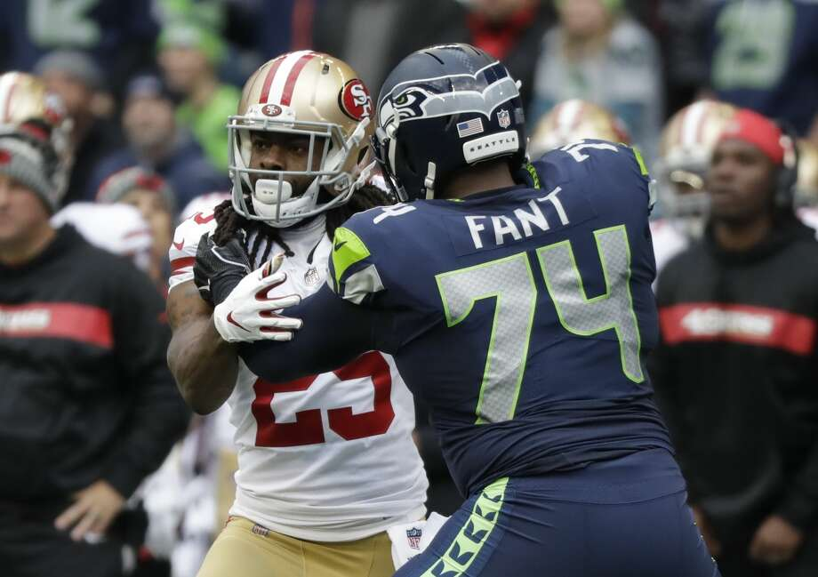 San Francisco 49ers cornerback Richard Sherman (25) lines up against Seattle Seahawks offensive tackle George Fant (74) during the first half of an NFL football game, Sunday, Dec. 2, 2018, in Seattle. (AP Photo/Elaine Thompson) Photo: Elaine Thompson/AP