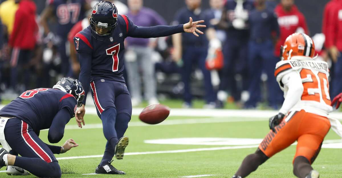 PHOTOS: Texans vs. Browns Houston Texans kicker Ka'imi Fairbairn (7) kicks a 38-yard field goal against the Cleveland Browns during the fourth quarter of an NFL football game at NRG Stadium on Sunday, Dec. 2, 2018, in Houston. >>>Check out more game action from the Texans' ninth straight win Sunday ...