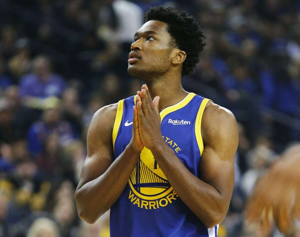 Golden State Warriors center Damian Jones (15) during the first half of an NBA game against the Brooklyn Nets at Oracle Arena on Saturday, Nov. 10, 2018, in Oakland, Calif.