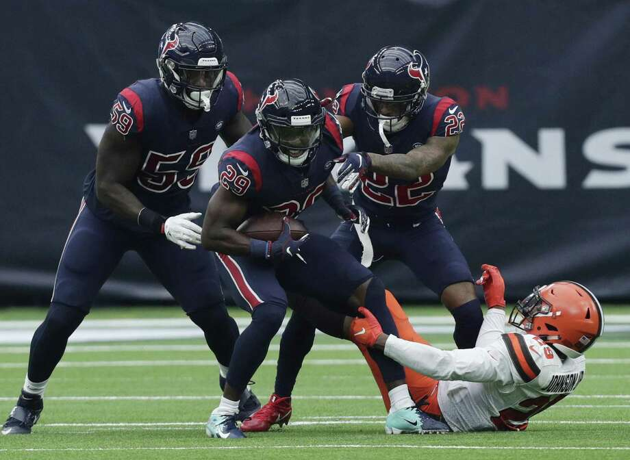 Cleveland Browns running back Duke Johnson (29) tries to stop Houston Texans defensive back Andre Hal (29) after he recovered a fumble Cleveland tight end Seth DeValve during the first half of an NFL football game, Sunday, Dec. 2, 2018, in Houston. (AP Photo/Sam Craft) Photo: Sam Craft, FRE / Associated Press / Copyright 2018 The Associated Press. All rights reserved.