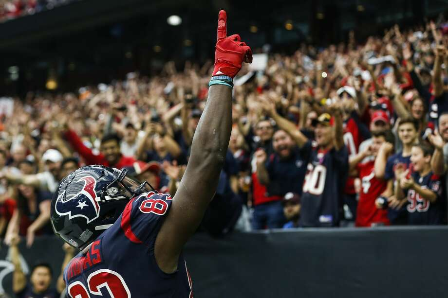 Houston Texans tight end Jordan Thomas (83) celebrates his 11-yard touchdown reception against the Cleveland Browns during the first quarter of an NFL football game at NRG Stadium on Sunday, Dec. 2, 2018, in Houston. Photo: Brett Coomer/Staff Photographer