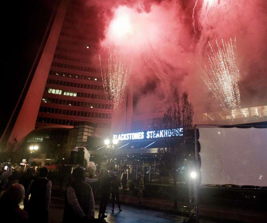 A fireworks display finishes the evening at One Landmark Square. Sunday, Dec. 2, 2018 Photo: Scott Mullin, For Hearst Connecticut Media / The News-Times Freelance