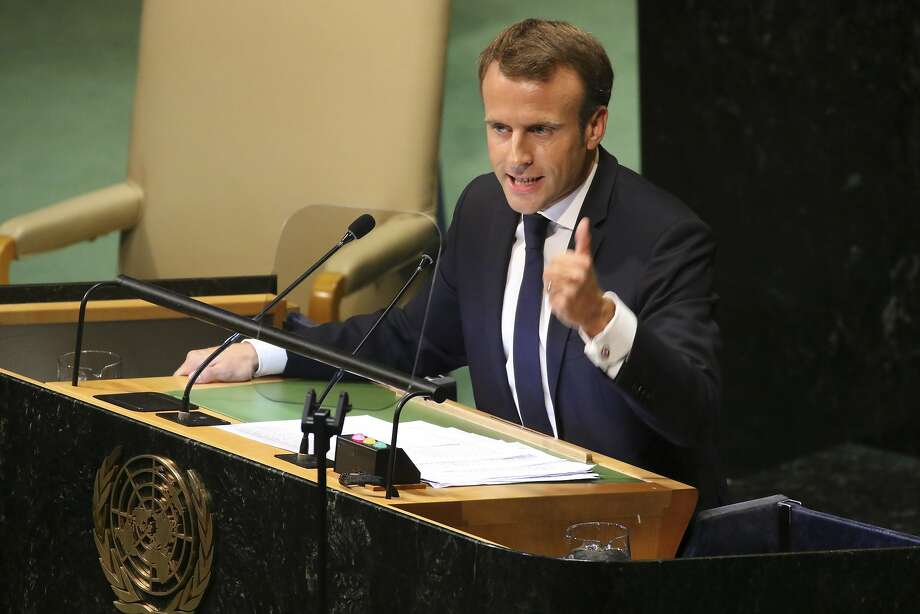 FILE -- French President Emmanuel Macron addresses the United Nations General Assembly at the UN headquarters in New York, Sept. 25, 2018. President Emmanuel Macron returned to France on Dec. 2 from a summit meeting in Argentina to find his country in turmoil after a day of violent protests. (Chang W. Lee/The New York Times) Photo: CHANG W. LEE, NYT
