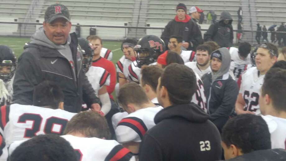 RPI coach Ralph Isernia talks to his team after its loss to Johns Hopkins in the Division III NCAA quarterfinals at Homewood field in Baltimore on Saturday, Dec. 1, 2018. (Pete Dougherty / Times Union)