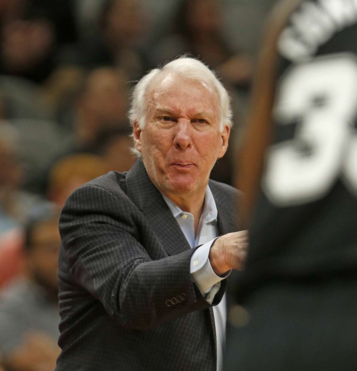 Spurs head coach Gregg Popovich yells instructions to his team. Portland Trail Blazers v San Antonio Spurs at AT&T Center on Sunday, December 2, 2018.