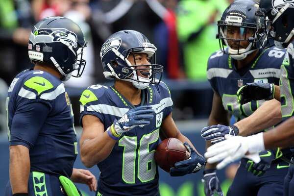 Seahawks wide receiver Tyler Lockett (16) celebrates his touchdown during the second quarter of Seattle's game against San Francisco, Sunday, Dec. 2, 2018 at CenturyLink Field.