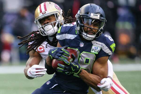 Seahawks wide receiver Doug Baldwin (89) pushes past 49ers cornerback Richard Sherman during the third quarter of Seattle's game against San Francisco, Sunday, Dec. 2, 2018 at CenturyLink Field.