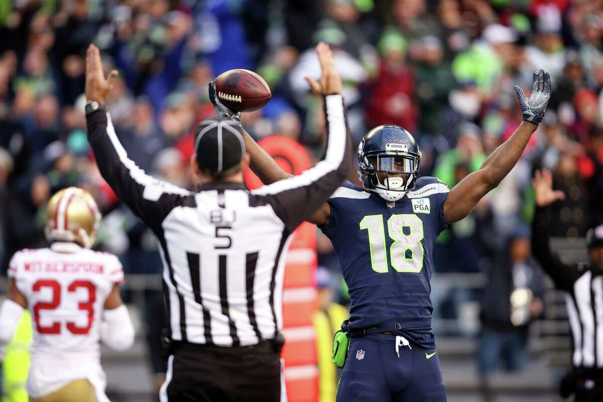 Seahawks wide receiver Jaron Brown celebrates his touchdown during the third quarter of Seattle's game against San Francisco, Sunday, Dec. 2, 2018 at CenturyLink Field.