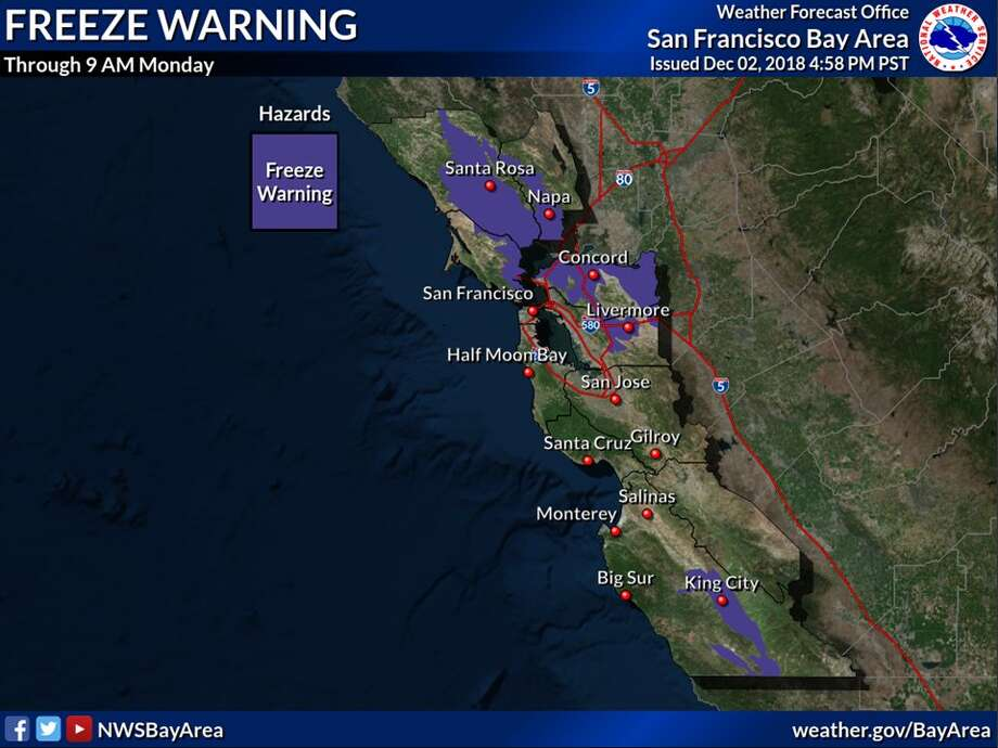 The National Oceanic and Atmospheric Administration and the National Weather Service issued a freeze warning for parts of the Bay Area for the early hours of Monday morning. The areas in blue are where there will likely be freezing. Photo: Courtesy Of NWS