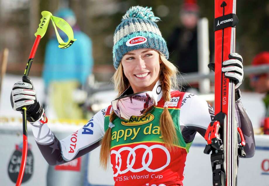 Mikaela Shiffrin, of the United States, celebrates her victory following the women's World Cup Super-G ski race at Lake Louise, Alberta, Sunday, Dec 2. 19, 2018. (Jeff McIntosh/The Canadian Press via AP) Photo: Jeff McIntosh / THE CANADIAN PRESS